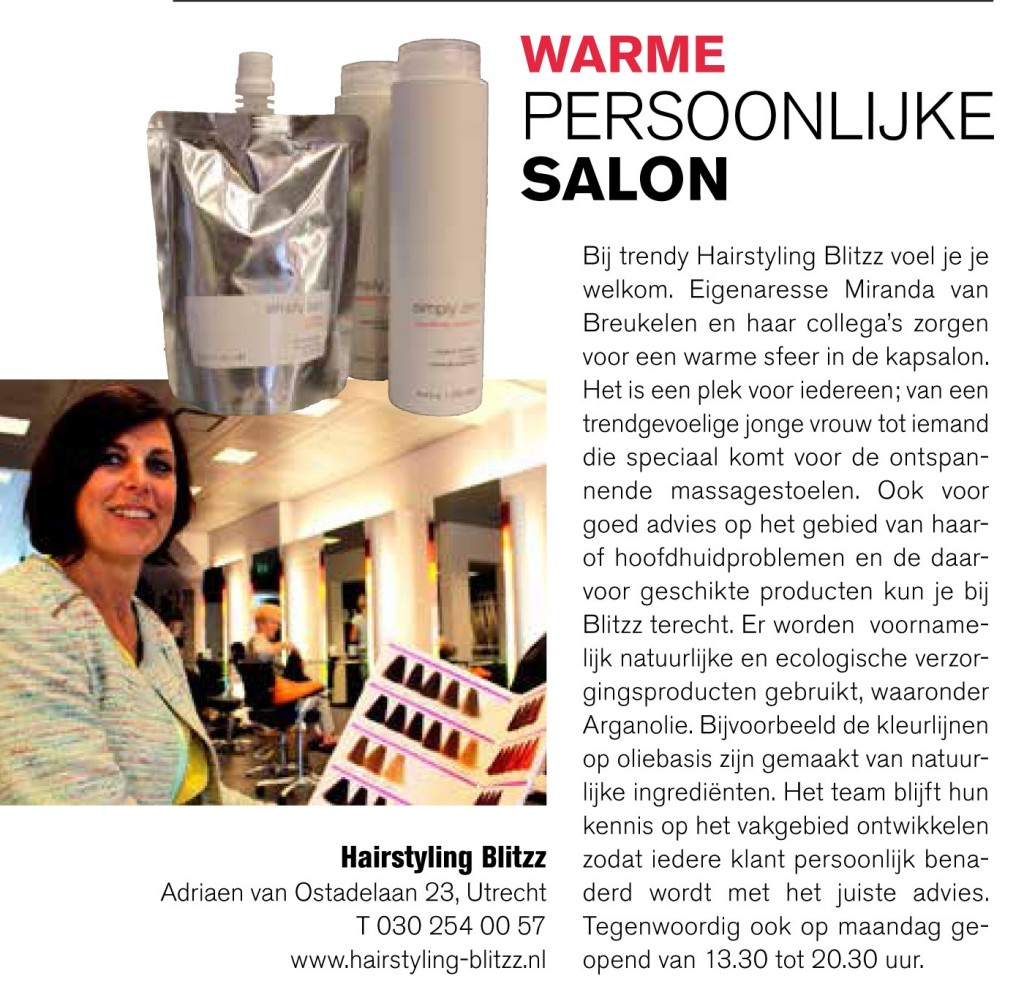 Artikel over Hairstyling Blitzz in Leven Magazine van September 2014.